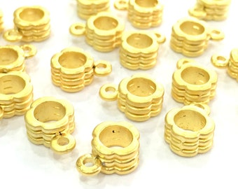 6 Pcs (8 mm)  Gold Plated Tube Beads   G4697