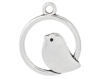 10 pieces Cute Antique Silver Bird Charms, 20 x 24mm Round Hollow
