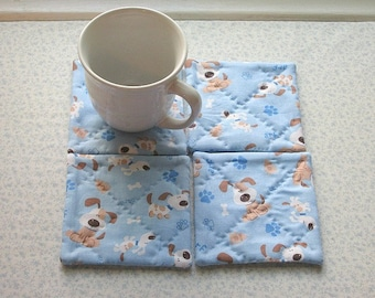 blue and brown puppy dogs set of hand quilted mug rugs coasters