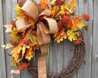 Fall Wreath, Fall Cork Wreath, Fall Leaves Wreath, Fall Decoration for Halloween and Thanksgiving