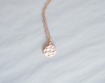 Rose Gold Necklace, Rose Gold Disc Necklace