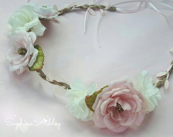 Blush Flower Hair Crown, Infant & Girls Blush Flower Crown, Blush Flower Girl Crown