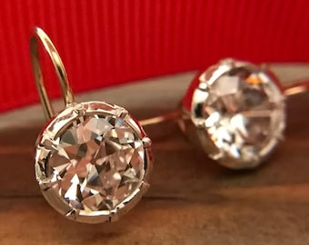Small Georgian Victorian Style Reproduction Round Diamond Paste Earrings with OEC (Old European Cut) CZ's (2 carats each)