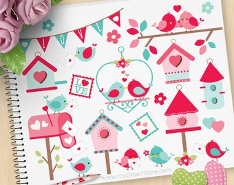 Valentine Love Birds Clipart, bird house, bird cages, Love letters, mailbox, postbox, spring, Commercial Use, Vector clip art, SVG Cut Files