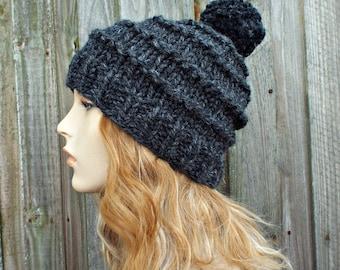 Womens Pom Pom Hat - Chunky Knit Hat Women - Hand Knit Hat Men - Charcoal Grey Hat Grey Beanie - Tier Beanie Warm Winter Hat - READY TO SHIP