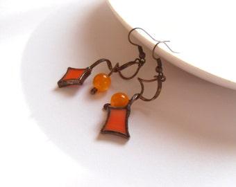 Stained glass earrings, bohemian jewelry, orange beaded earrings, statement jewelry, copper wire earrings, Sparkle
