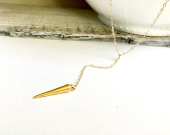 Long Gold Spike Y Lariat, Gold Filled Y Necklace, Gold Spike Y Lariat, Teen Necklace, Long Bohemian Lariat