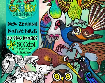 New Zealand Native Birds Clip Art, Instant Digital Download