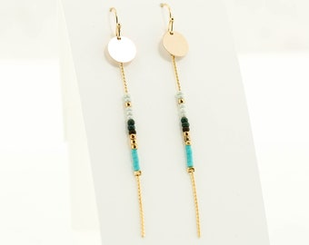 Seed Bead with Disc Dangle, Colorful Dangle Earring, Gold Dangle Earring, Summer Dangle Earring, Turquoise, Coral, Natural