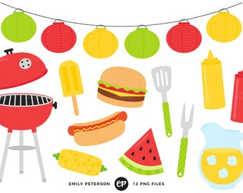 Summer BBQ Clip Art, Barbecue Clipart, Cook Out Clip Art - Commercial Use, Instant Download