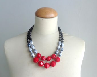 Chunky Double Strand Statement Necklace, red white black Anthropologie,  modern tribal, statement, red black necklace