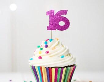 16 Cupcake Topper, Sweet 16 Birthday Cupcake Stick,16th Birthday Cupcake Pick, Sweet 16 Birthday Decorations, Sweet 16 Decoration