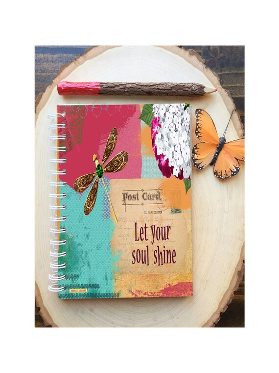 Soul Shine Spiral Bound Notebook - Dragonfly Journal - Hard Notebook - Spiral Journal - Back to School - Gift - Journal