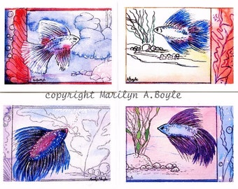 ACEO FOUR CARD Set - Betas, fish, Siamese fighting fish, sparkles, metallic ink, miniatures, 2.5 x 3.5 inch, aquarium fish,