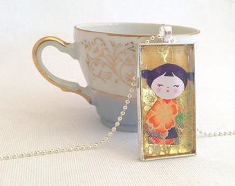 kawaii doll necklace, kokeshi doll jewelry, domino pendant, metallic gold paper collage necklace, golden Autumn jewellery