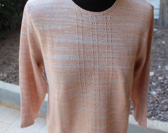 Peach 3/4 sleeve knitted sweater.Peach knit sweater. Peach knit pullover. Round neck knitted sweater.Elegant knit pullover.Spring/Summer top