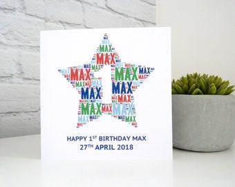Personalised 1st Birthday Card (Boys), Personalised Card, Personalised Word Art Card, Special Card, Personalised Birthday Card