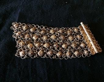 Vintage Bracelet, Antique Bracelet, Art Nouveau Bracelet, Pure Silver (1000) Gold Plated Filigree Bracelet - 1900