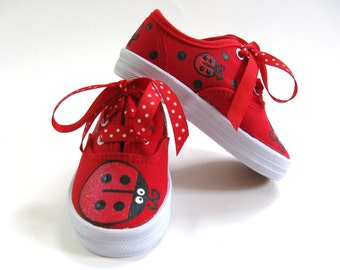 Ladybug Shoes, Hand Painted Red Canvas Sneakers, Ladybird or Lady Beatle Birthday Party Outfit, Baby and Toddler
