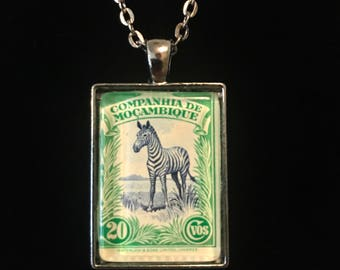 Zebra Postage Stamp Necklace | Mozambique | 1930s Vintage