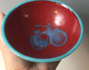 Bike Small Fused Glass Bowl, Vintage Bike, Schwinn, Red and Blue