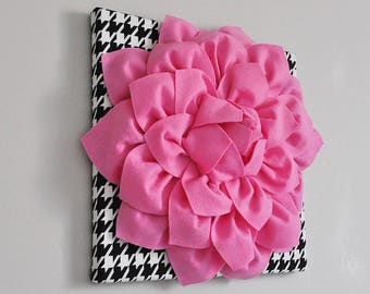 Pink, Black and White Houndstooth Wall Art- Floral Decor-Nursery Wall Art- Dahlia Home Decor-Nursery Decor-Paris Home Decor -Girls Wall Art