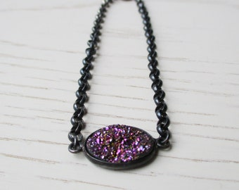 Titanium druzy bracelet, oval mustic purple druzy chain bracelet, oxidized sterling silver coated gemstone bracelet, metallic druzy jewelry