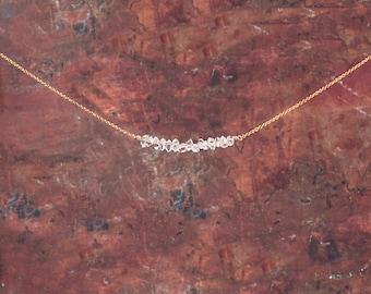 Herkimer Diamond Necklace/Herkimer Diamond Row Necklace/Herkimer Bar Necklace/April Birthstone/Valentines gift/Wife Gift