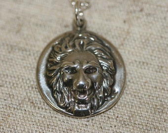 Sterling Silver Lion, Unisex Lion Pendant,Lion Silver Pendant, Solid Silver Lion Necklace, Silver Lion Pendants,