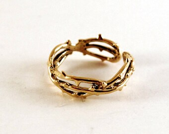 Thorn ring in white bronze adjustable statement ring