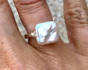 Square Freshwater Pearl Ring on Sterling Silver