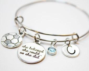 soccer bracelet, personalized soccer bracelet, soccer bangle, soccer charm bracelet, soccer theme jewelry, soccer player gift, soccer player