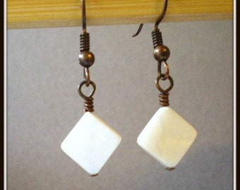 Diamond Shaped White Shell Beads and Copper Wire Earrings Handmade