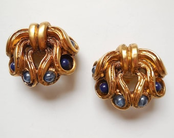Vintage 1980s vintage earrings - Ccreature couture Claire DEVE Golden resin beads