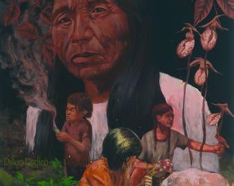 Protectors. canvas Art by Dillon Endico. Plant Medicine, Plant Spirit, Native American Art, Wild Medicinals, Appalachian Plants, Cherokee