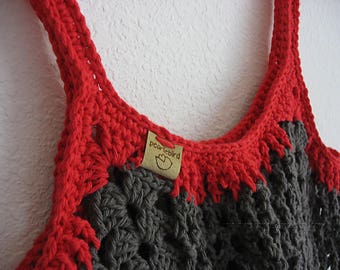 Boho Market Bag~Grey and Red Crochet Tote Bag~Reusable Shopping Bag~Beach Bag~Market Tote~Crocheted Grocery Bag~grey~gray~red