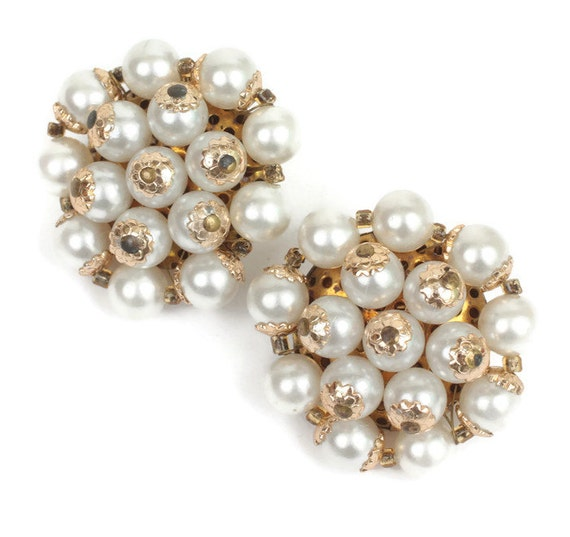Faux Pearl Cluster Clip Earrings Japan Gold Tone Accents Vintage Mid Century
