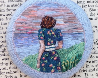 Woman and the Sea Hand Embroidered Thread Painting, Seascape, 1940s, Tankerton Beach, Sunset, Vintage Floral Dress