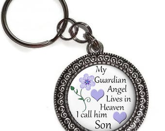 Son, My Guardian Angel In Heaven, Key Ring, Purse Charm, Zipper Pull, In Memory Of, Memorial, Remembrance, Bereavement, Keepsake