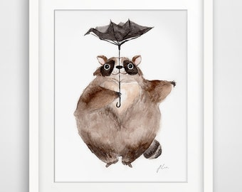 Totoro Pose illustration Series - Raccon (Fine Art Print)