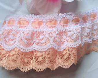 Ruffled Lace with Ribbon, 2+1/2 inch wide peach/white/peach selling by the yard