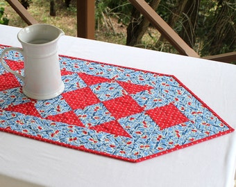 Quilted Summer Table Runner, Blue Red, Table Topper, Floral Table Quilt, Quiltsy Handmade