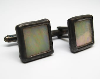Creme - Mens Stained Glass Cuff Link Set