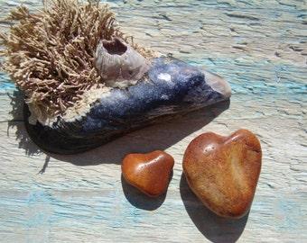 Natural Heart shaped sea Stones-Genuine sea Pebbles-Red Jasper Hearts-Wedding Decor-Jewelry Supplies