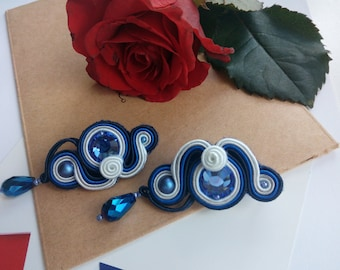 Soutache earring, blue soutache earrings, earrings swarovski, for gift, present