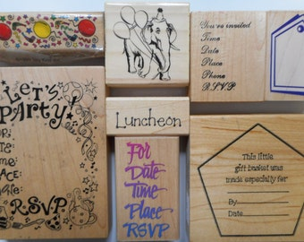 8 Party Themed Rubber Stamps, Free Shipping