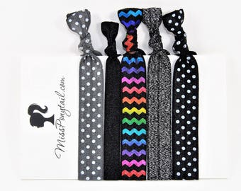 Rainbow Chevrons Hair Ties, Grey, Black, Dots, Elastic Hair Ties, Handmade, Elastic Ribbon, Ponytail Holder, Knotted Hair Ties missponytail