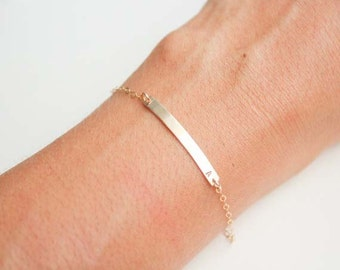Nameplate Bracelet / Personalized Bar Bracelet / Name Bar Bracelet / ID Bracelet / Custom Name Bracelet / Initial Bracelet / Gold or Silver