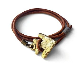 Arrowhead Anchor Leather Wrap Bracelet - Brass Arrowhead Anchor - Brown Leather Wrap Bracelet - Nautical Bracelet by Modern Out