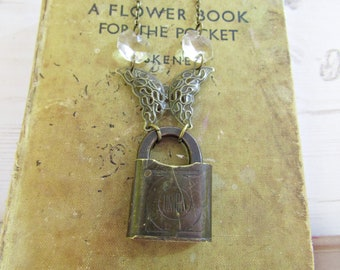 Vintage Lock Crystal and Butterfly Necklace Steampunk Repurposed Upcycled Pendant OOAK
